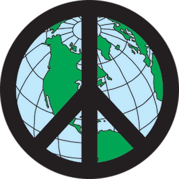 Peace Sign Earth Button