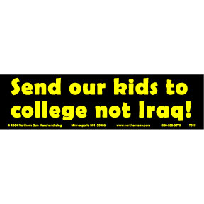 College Not Iraq Bumper Sticker