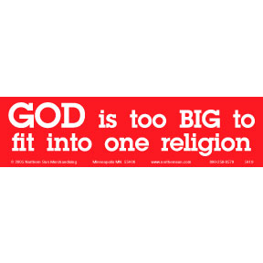 God Too Big Religion Bumper Sticker