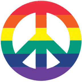 Rainbow Peace Sign 4 Inch Magnet