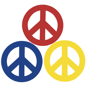 Solid Peace Sign 4 Inch Magnet