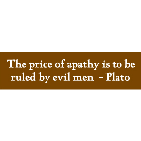 The Price Of Apathy Plato Bumper Sticker