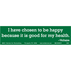 Happy Is Good Voltaire Bumper Sticker
