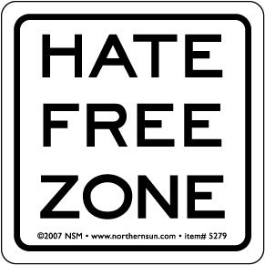 Hate Free Zone Sticker