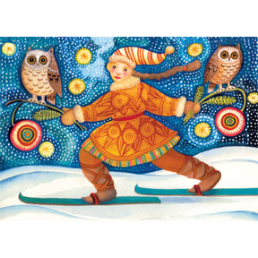 Midnight Ski 12 Note Card Set