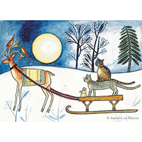 Midwinter Cats 12 Note Card Set