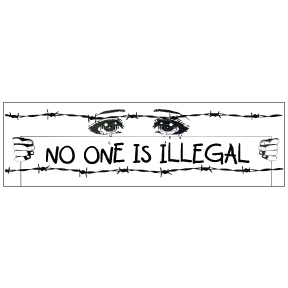 No One Is Illegal Sticker