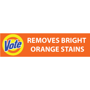 Vote Removes Orange Stains Bumper Sticker