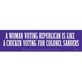 Woman Voting Republican Bumper Sticker