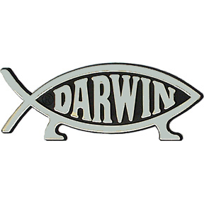 The basic Darwin fish is an ichthys symbol with stylized legs, meant to represent evolution.